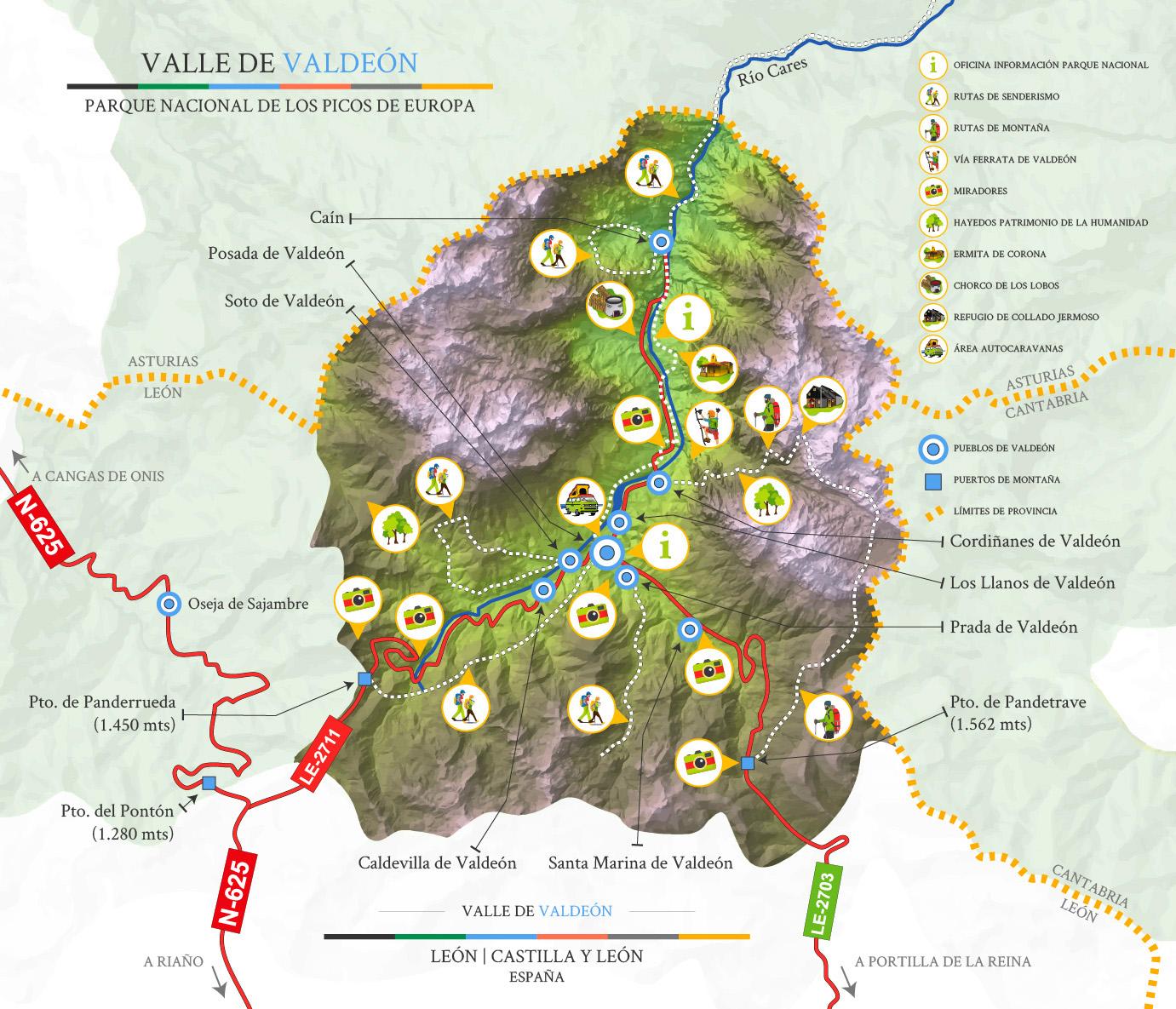 Mapa municipio del Valle de Valdeón
